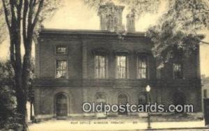 Windsor, VT USA,  Post Office Postcard, Postoffice Post Card Old Vintage Anti...