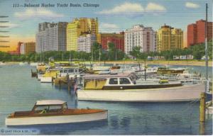 Belmont Harbor Yacht Basin ~ Chicago Illinois IL ~ Boats c1952 Linen Postcard