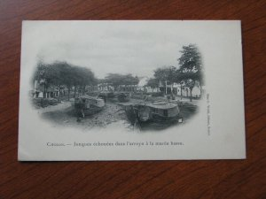 French Indo China Postcard Used UDB 1904 Cholon Boats in Dry River Bed