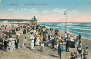 Constanta Baile si plaja la Mamaia animated Black Sea beach 1920s Romania