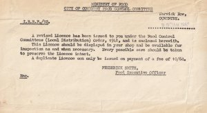 Coventry Ministry Of Food WW2 Licence Receipt