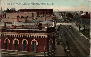 Fargo ND~Corner Bank~McDonald's Drugs~Dome & Steeple Peek Over Rooftops c1910