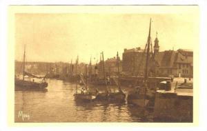 Dieppe , France, 1910s ; Fishing boats near Fishmarket