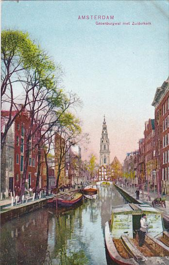 Netherlands Amsterdam Groenburgwal met Zuiderkerk