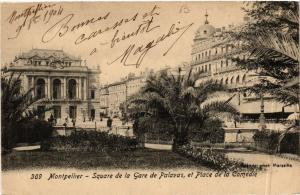 CPA  Montpellier - Square de la Gare de Palavas, et Place de la Comédie (511283)