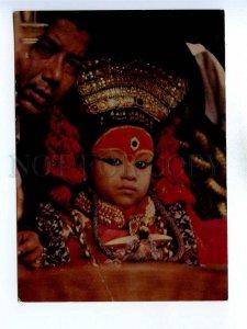 196037 NEPAL Kumari Living Goddess Old photo postcard