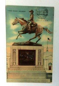 Wilmington Delaware Rodney Square Caesar Rodney Monument Linen Vintage Postcard