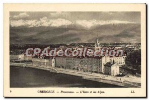 Old Postcard Grenoble Isere Panorama And The Alps