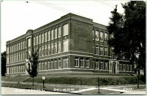 OELWEIN, Iowa RPPC Real Photo Postcard HIGH SCHOOL Building View / 1949 Cancel