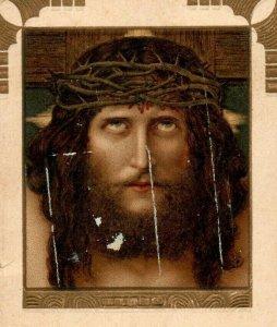 1890s-1910 Religious Jesus On The Cross Thorn Crown German Language P222