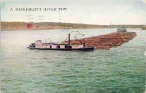 Mississippi River Tow MI Logs Boats c1909 Postcard G28