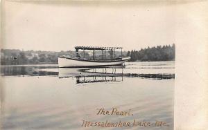 Messalonskee Lake ME Boat The Pearl RPPC Postcard