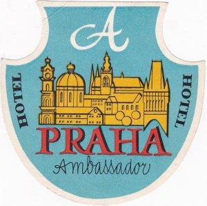 Czechoslovakia Praha Hotel Ambassador Vintage Luggage Label sk4394
