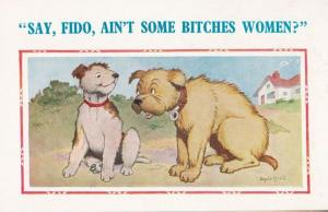 Women Are B*tches Two Dogs Talking Fido On Heat Animal Comic Humour Postcard