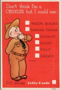WW2 Army Comic 'I'm Not A Chiseler' Jiffy Cards Unused Postcard G39