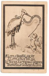 Birth Announcement Stork Cherub baby 1909 Roth & Langley