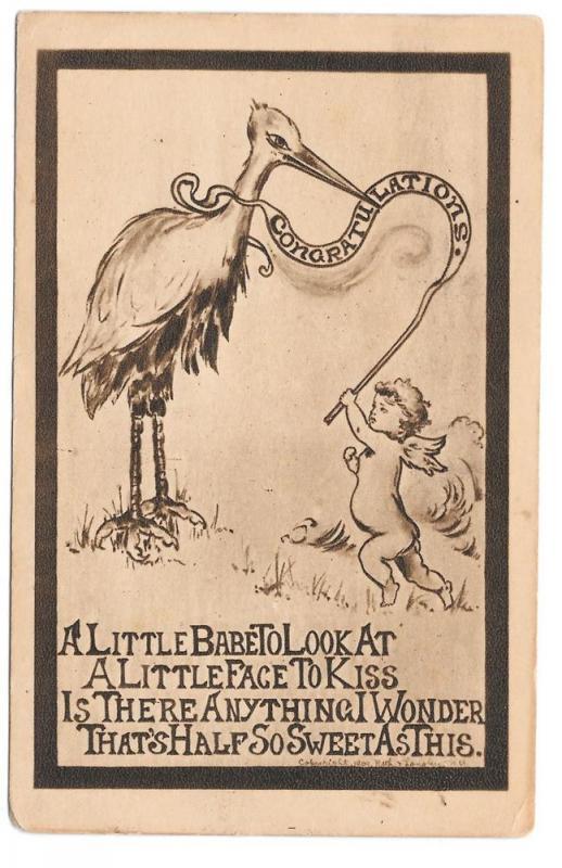 Birth Announcement Stork Cherub baby 1909 Roth & Langley