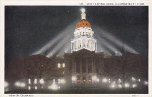 Colorado Denver State Capitol Dome Illuminated At Night