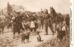 Scene. Soldier with jhorse, dogs, people Fine painting vintage French Postcard