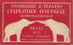 Paris Colonial Exhibition 1931 book folder 24 detachable postcards