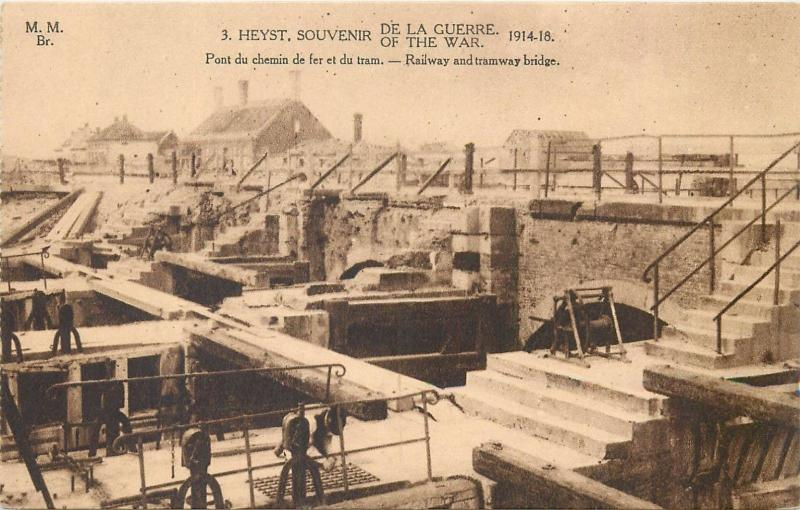 Belgium WW I Heyst Souvenir of the war 1914-18 railway and tramway bridge
