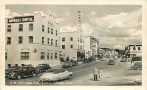 1948 Coeur D Alene Sherman Avenue Street View Hotel Theatre Marquee Hall RPPC