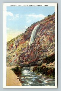 Ogden Canyon UT-Utah, Bridal Veil Falls Trolley Bridge Tourists Vintage Postcard