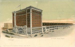 Autos Chicago Illinois La Salle Depot Trolleys C-1905 Teich undivided 10768