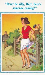 Upskirt Lady Stuck On Barbed Fence Wire Farmer To Rescue Comic Humour Postcard