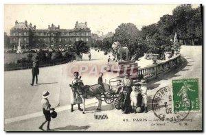 Old Postcard Paris Garden of Luxembourg the senate Ass Child Lion