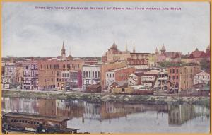 Elgin, ILL., Bird-Eye view of Business District, From across the river -