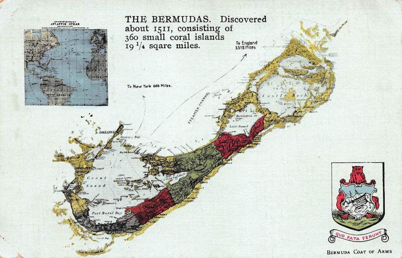 The Bermudas, Discovered About 1511, Postcard Showing A Bermuda Map, Unused