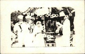 Navy Sailors at Red Cross Booth Nurses CUBA 1917 on Back Real Photo Postcard