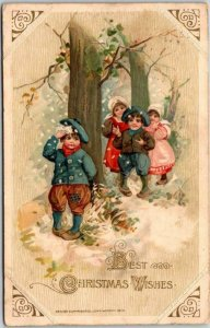 1910s WINSCH Embossed Postcard BEST CHRISTMAS WISHES Snowball Fight Scene