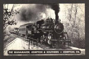 PA Wanamaker Kempton & Southern steam Railroad Train Penn Pennsylvania Postcard