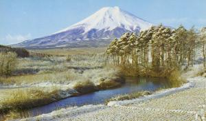 Japan Mount Fuji Seen from Oshino Village Mt. Fugi Winter Scene Postcard D11
