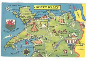 Map Showing Many Attractions, North Wales, UK, 1940-1960s