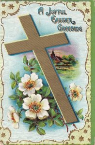 EASTER, PU-1910; Greeting, Gold Cross, Country Church, White Flowers
