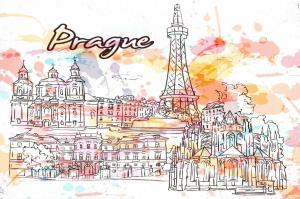 Art Postcard, Prague, Czech Republic Landmarks, City, View, Travel 9i