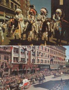 Indian Calgary Street Stampede Parade Canadian 2x Vintage Postcard