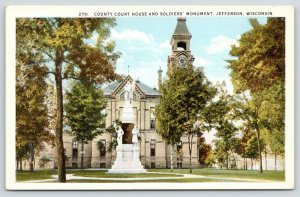 Jefferson Wisconsin~Jefferson County Courthouse~Soldiers' Monument~1920s