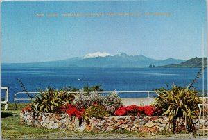 Lake Taupo Tongariro National Park Mountain NZ New Zealand c1970 Postcard C9