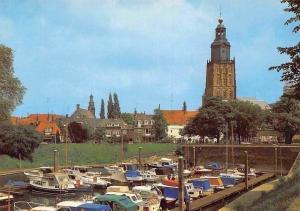 Netherlands Zutphen Jachthaven met gezicht op Walburgkerk Harbour Boats Church