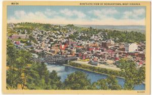 Bird's-eye view of Morgantown, West Virginia, unused linen Postcard