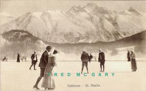 1911 Saint Moritz Switzerland Postcard: Eisfahren (Ice Skaters)