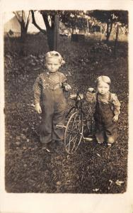 Bernard Bateman Shows Off Little Sibling, Alfred & The New Tricycle RPPC c1910