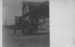 F82/ Occupational RPPC Postcard c1910 Railroad Depot Workers 10