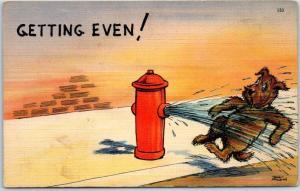 Vintage Artist-Signed WALT MUNSON Comic Postcard Fire Hydrant Peeing on Dog