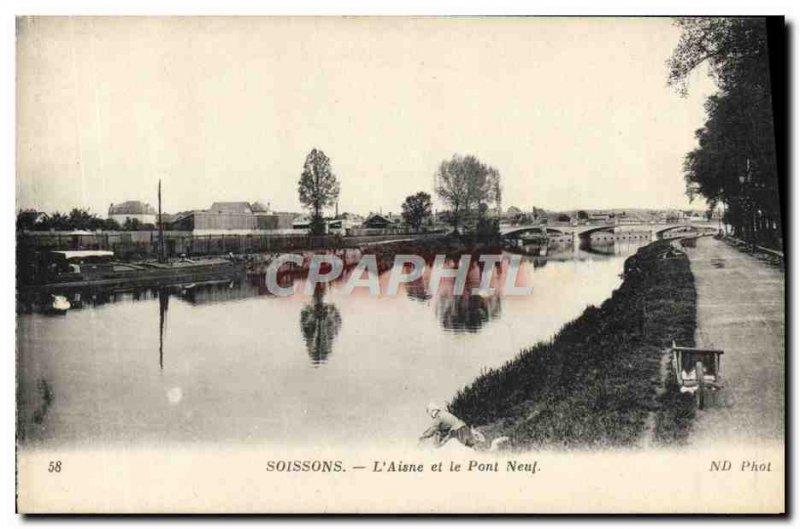 Old Postcard Soissons L & # 39Aisne and the New Bridge