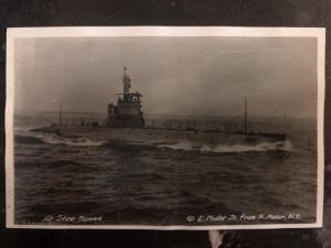 Mint US Navy RPPC Postcard USS K-6 Submarine At Slows Speed E Muller